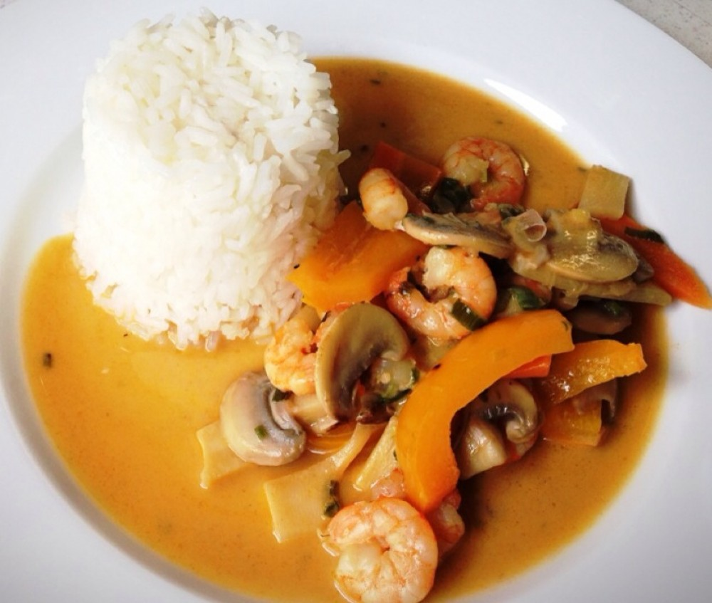 Shrimps Curry mit Jasminreis